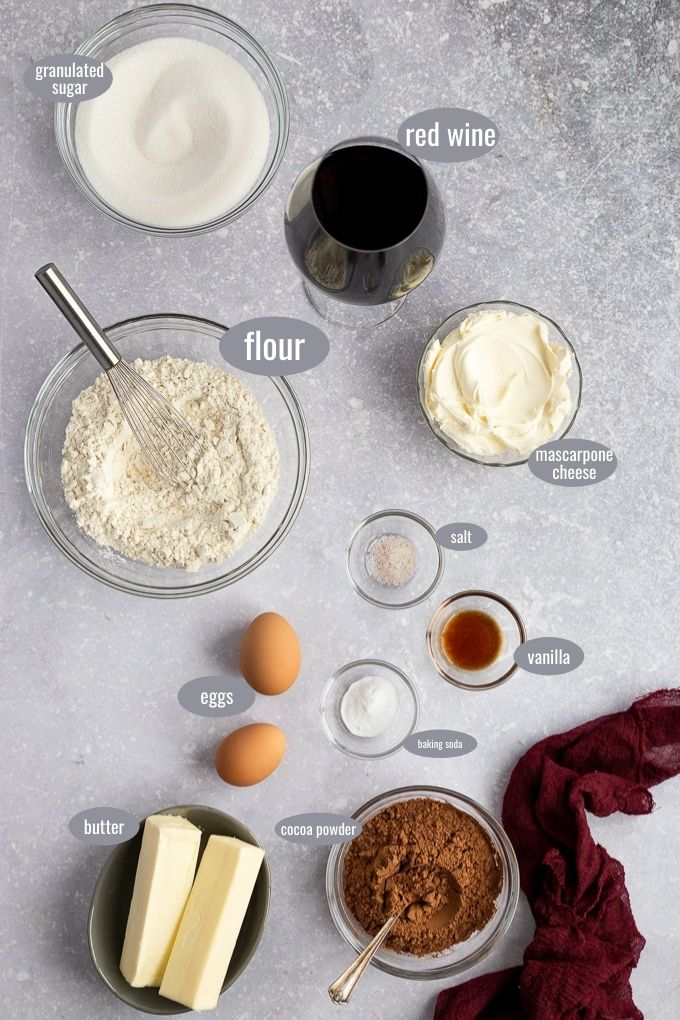 ingredients for red wine cupcakes
