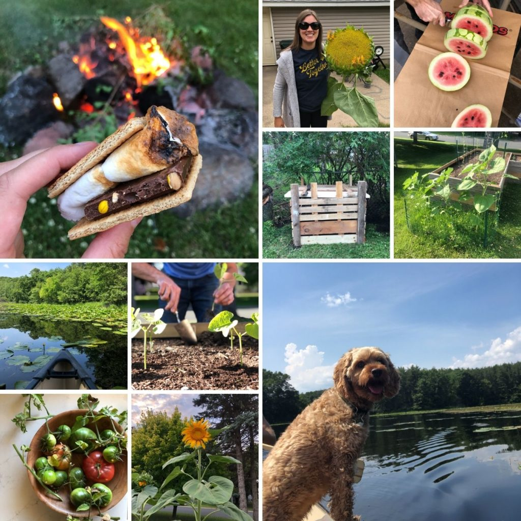 collage of images from summer: smores, canoeing, watermelon, garden