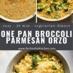 parmesan orzo with broccoli pinterest image