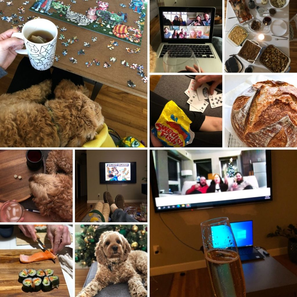 collage of winter: puzzles, zoom calls, sushi, games