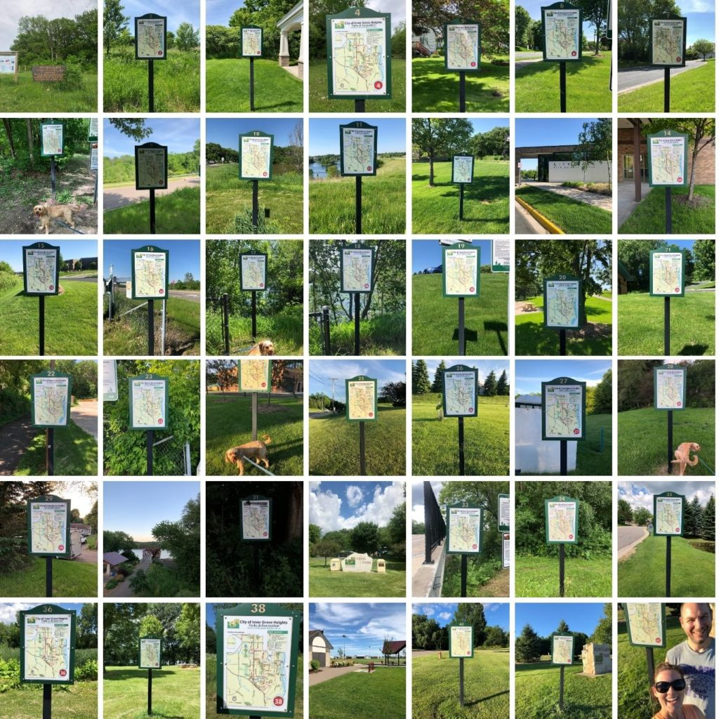 collage of signs on walking trails