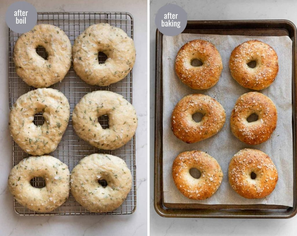 side by side after boiling and after baking