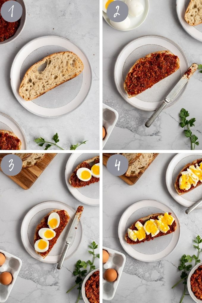 4 pic collage assembling toast with sauce and eggs