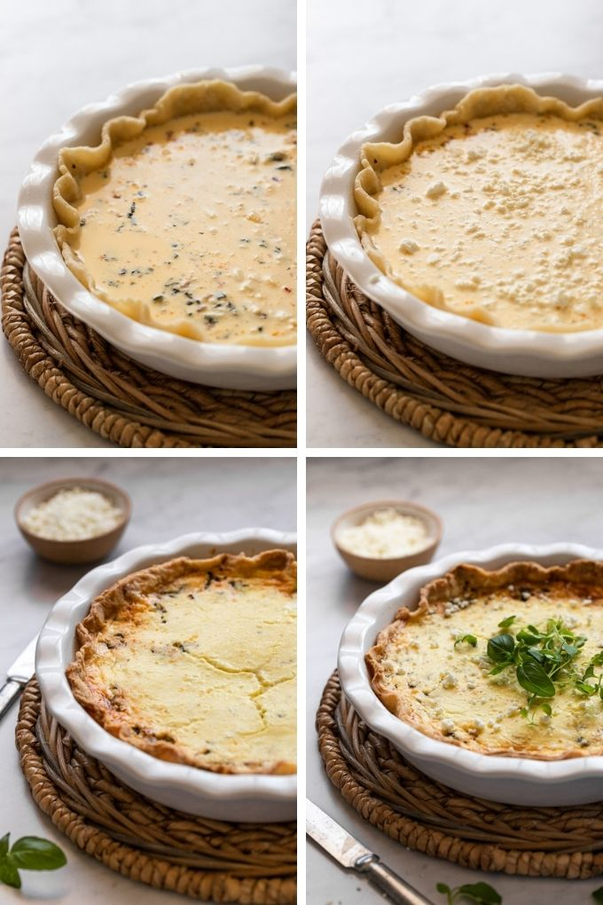 before and after collage of quiche