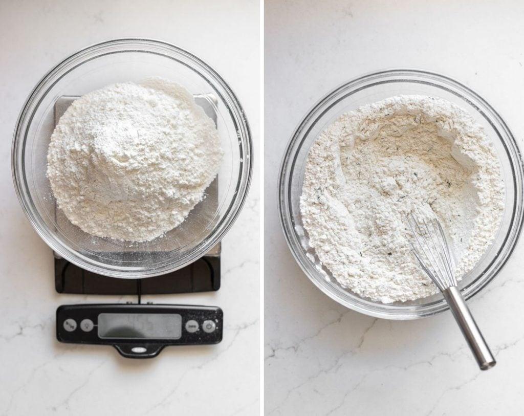 measuring flour on kitchen scale