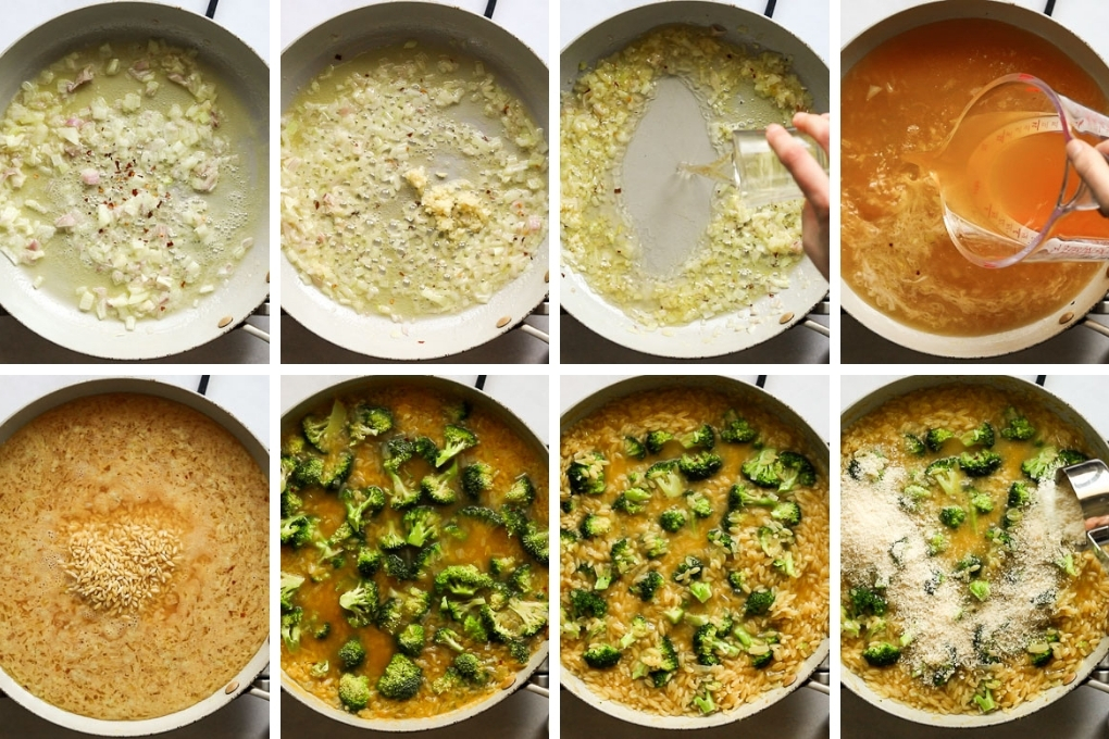 collage of steps to make orzo one pan pasta