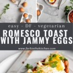 romesco toast pin with text overlay
