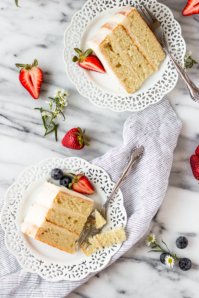 slices of cake on plates with berries