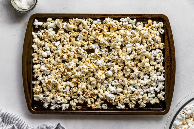 Popcorn on sheet pan to reheat.