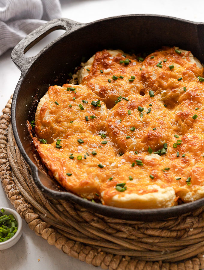 Garlic Cheese Biscuits in Cast Iron Skillet