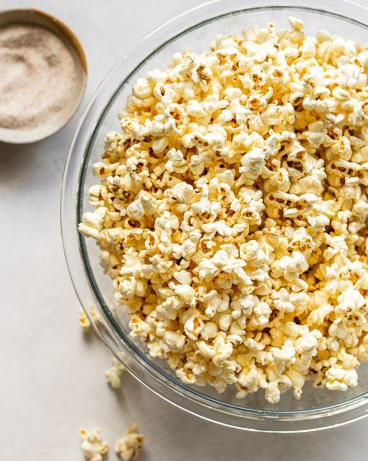 Bowl of homemade popcorn.