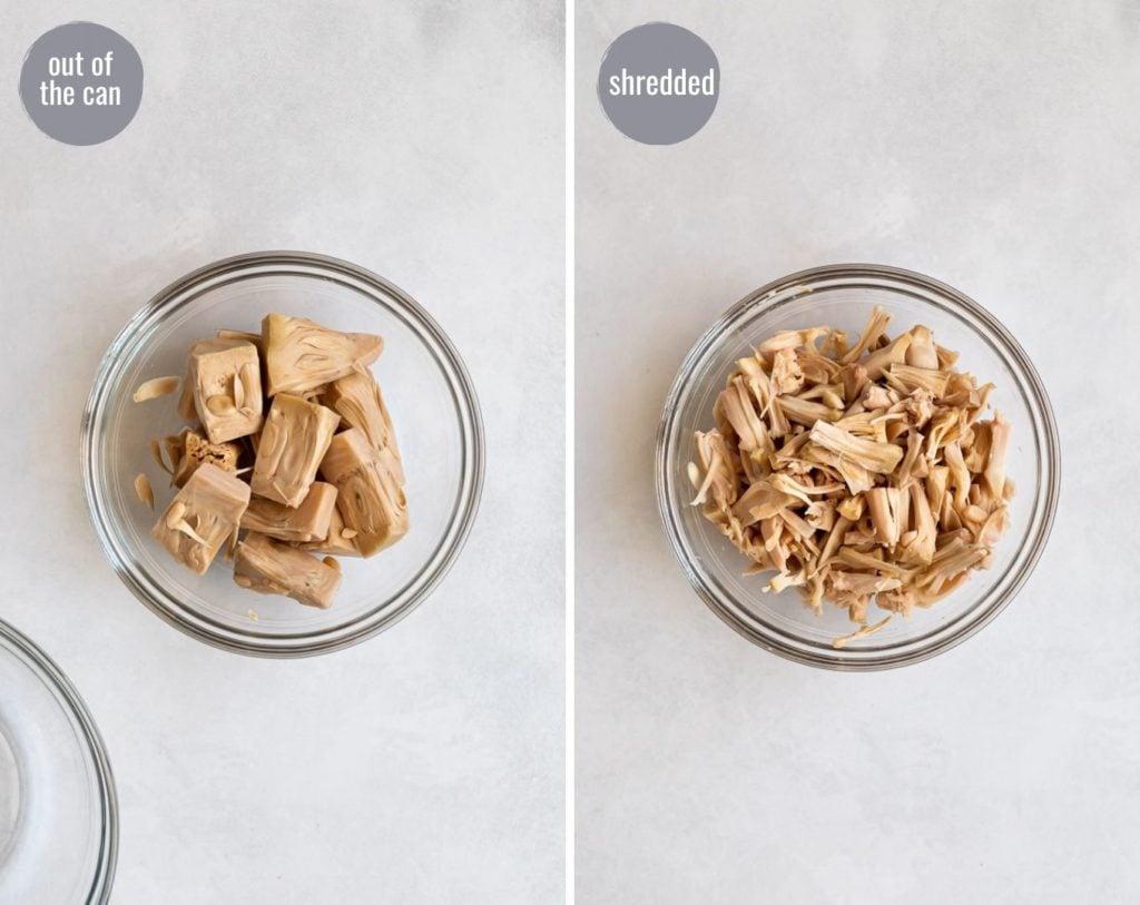 Side by side images before and after shredding jackfruit.
