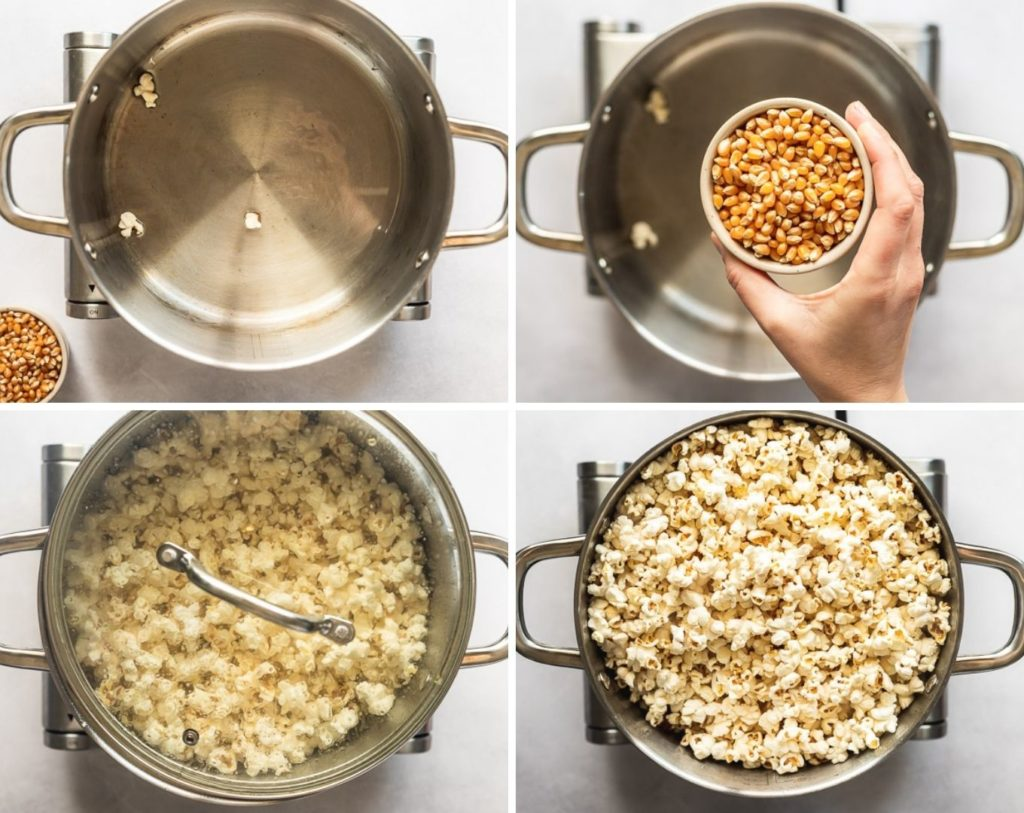 4 photos of popcorn kernels and popcorn in large stock pot.