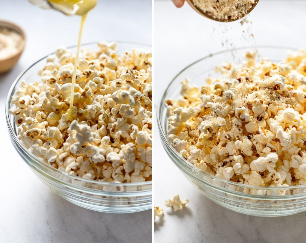 Side by side images: pouring butter and pouring parmesan mixture onto popcorn
