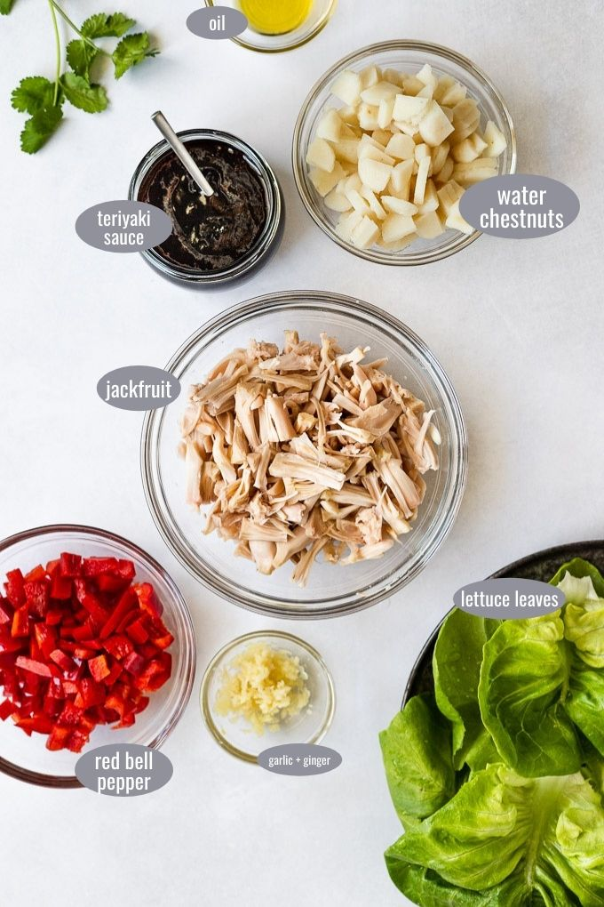 Recipe ingredients in bowls with labels.