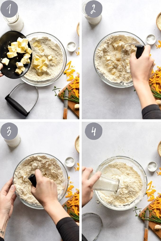 4 images making the biscuit dough.