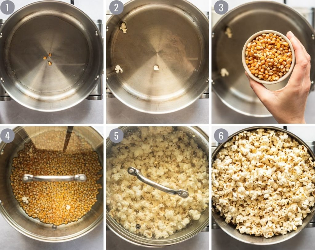Steps of making popcorn: adding test kernels, popping, and finished popcorn