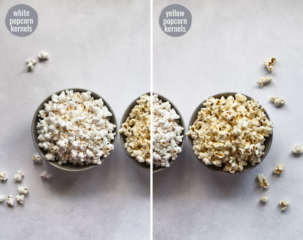 Side by side comparison of white and yellow popcorn kernels after popped.