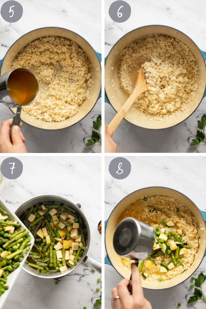 4 photo collage of steps: adding broth, stirring, and adding vegetables.