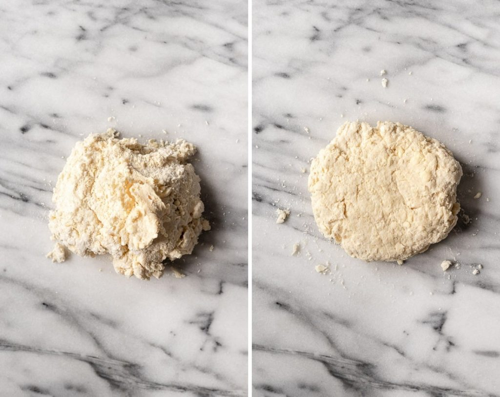 Two images, dough on counter then shaped into a disc.
