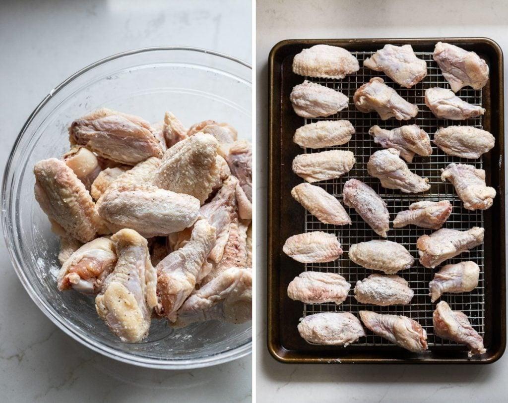 Chicken wings tossed in baking powder.