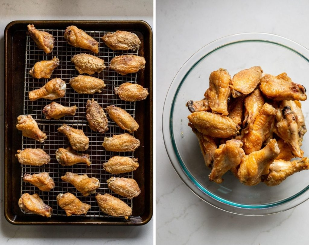 Chicken wings on baking sheet and in bowl after baking.