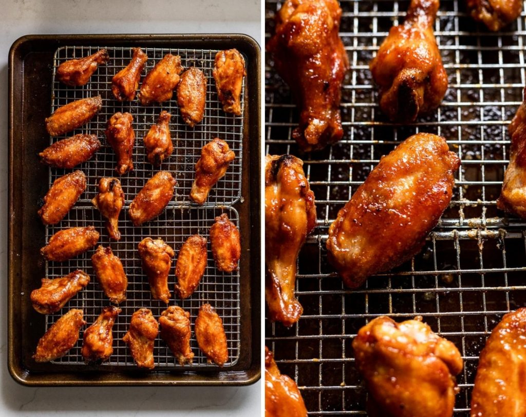 Sauced chicken wings on baking sheet and up close.