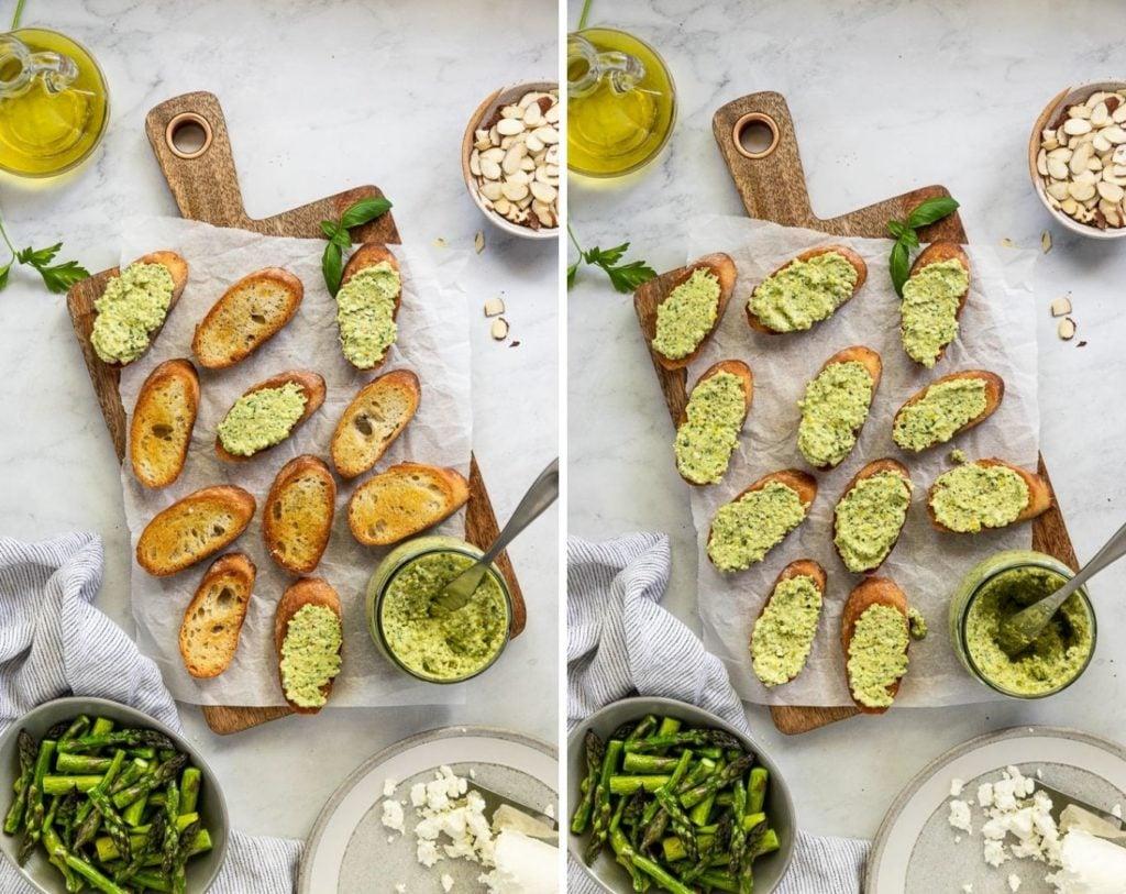 Crostini on cutting board with pesto.