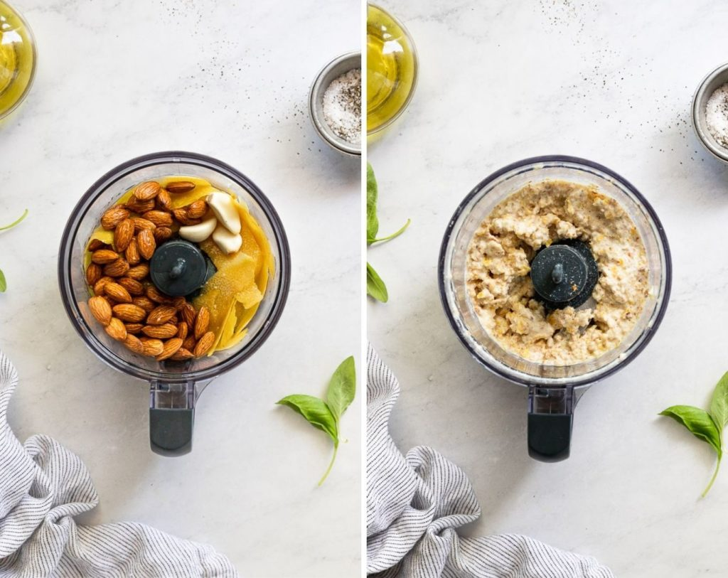 Side by side food processor before and after pulsing.