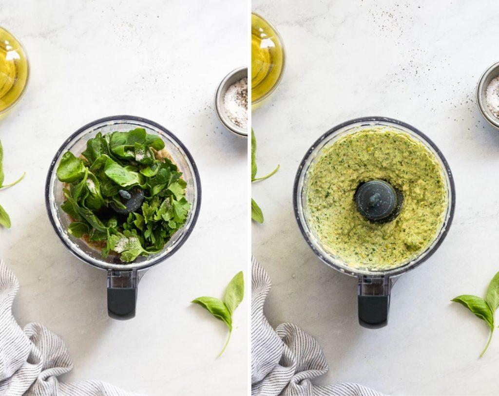 Side by side food processor with herbs and after mixed.