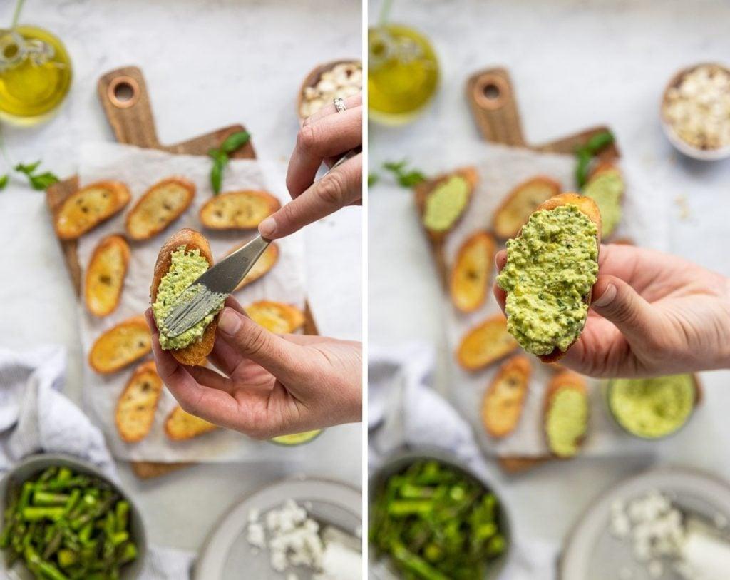 Two images spreading pesto on crostini.