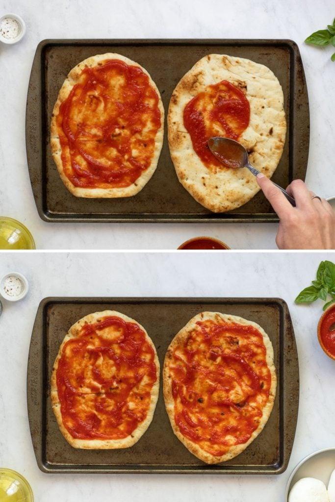 Spreading sauce on flatbread.