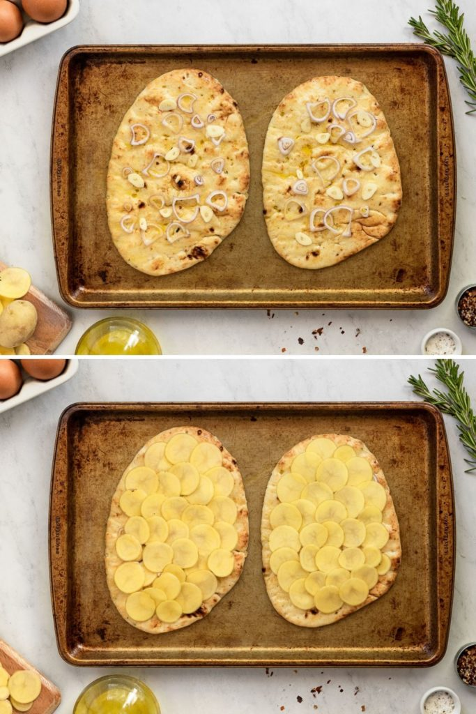 Flatbread with shallot and garlic then topped with potatoes.