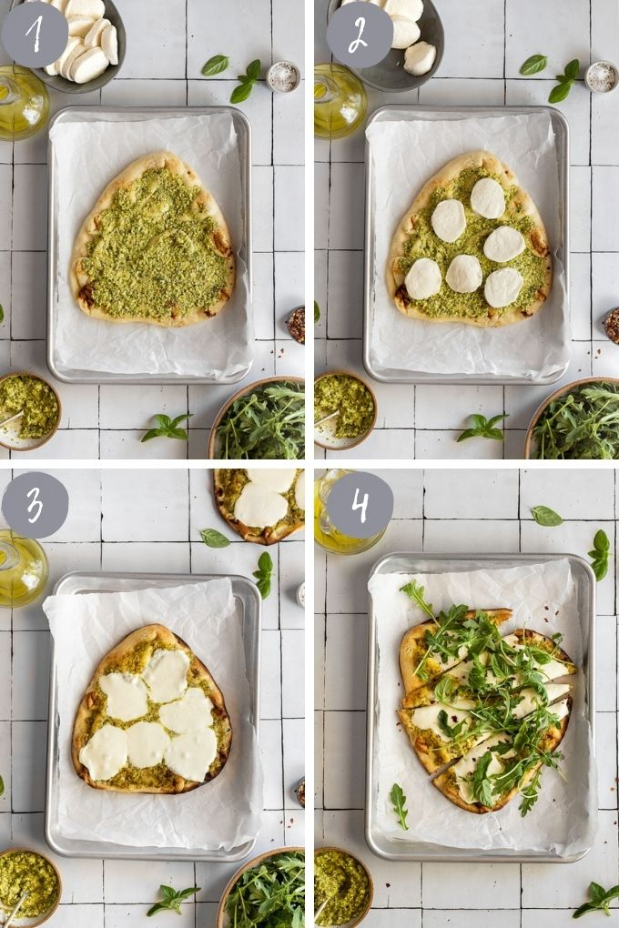 4 image collage assembling flatbread with pesto, cheese, baking, and arugula.