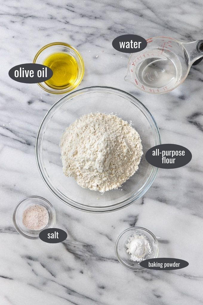 Ingredients labeled in bowls: flour, olive oil, water, salt, and baking powder.