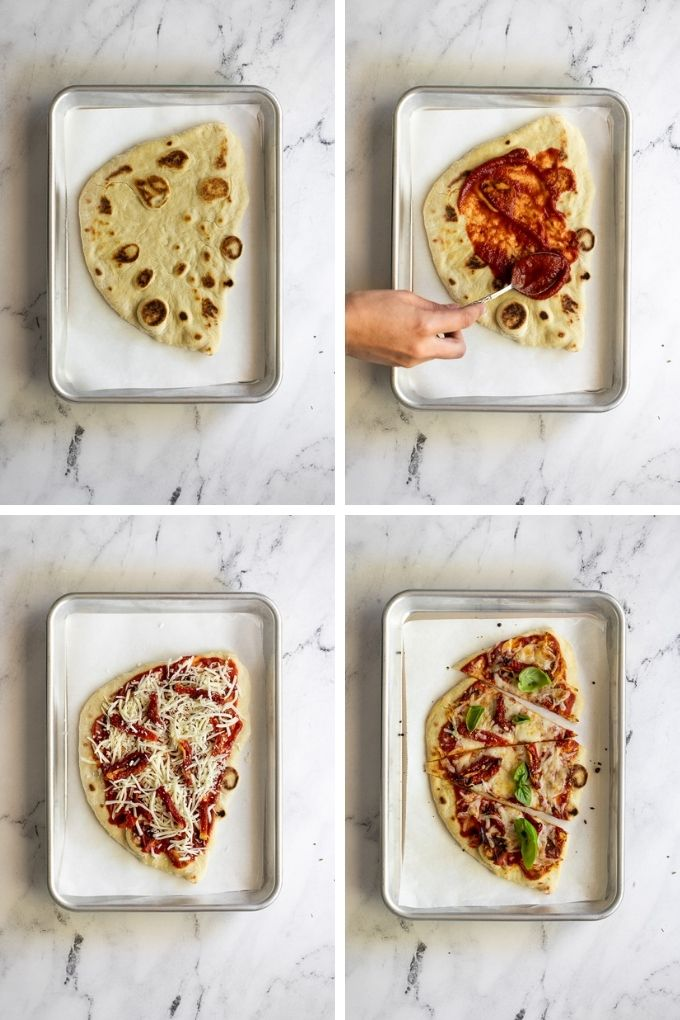 4 images assembling naan flatbread pizza.