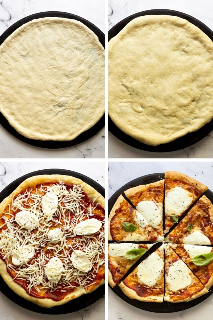 4 images: parbaking pizza crust and adding toppings