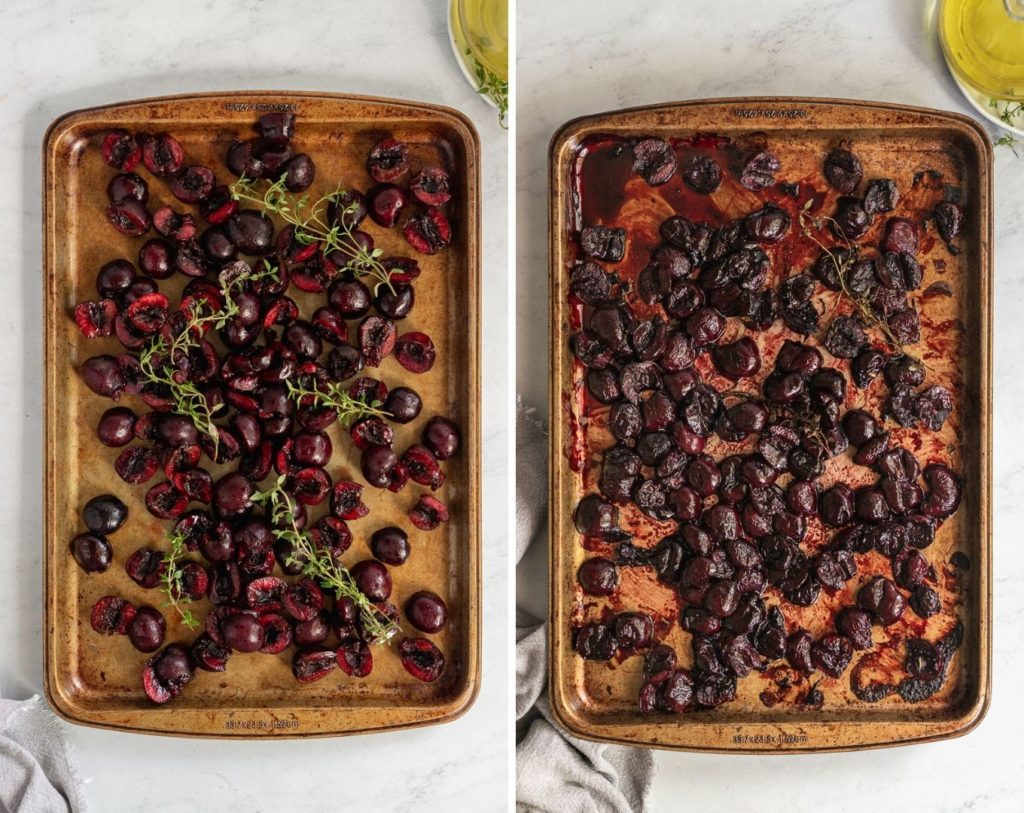 Roasted cherries on baking sheet before and after baking.