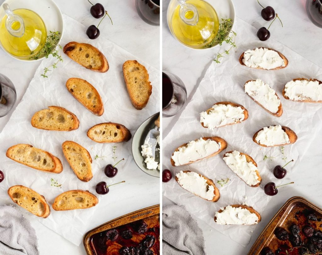 Side by side images of crostini then crostini topped with goat cheese.