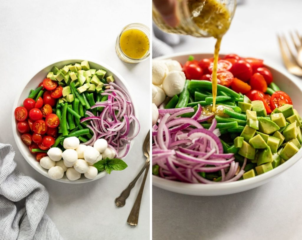 Two images: green bean salad in sections and pouring dressing into salad.