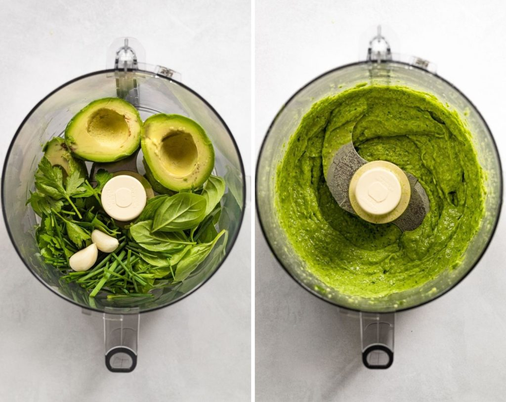 Two images before and after food processing avocado, herbs, and lemon juice.