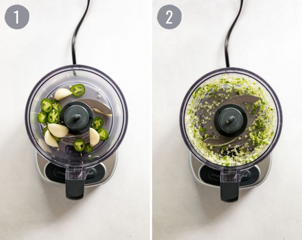 Side by side: garlic and pepper in food processor before and after.