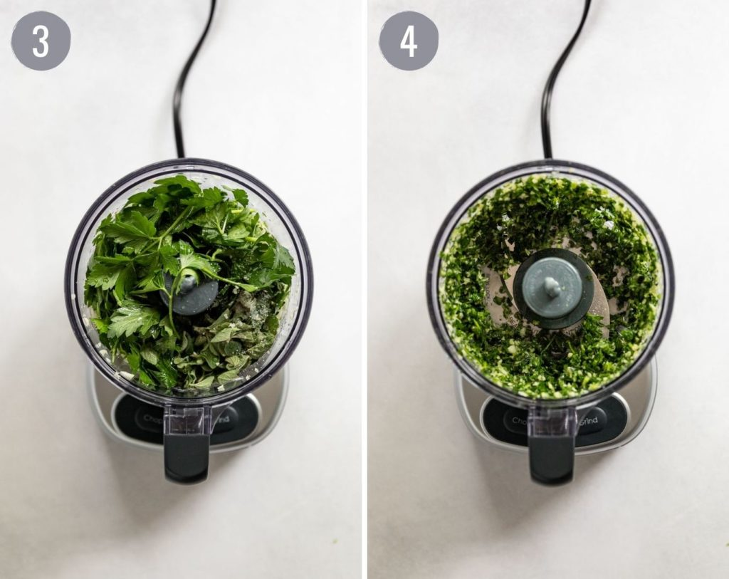 Side by side: herbs in food processor before and after.