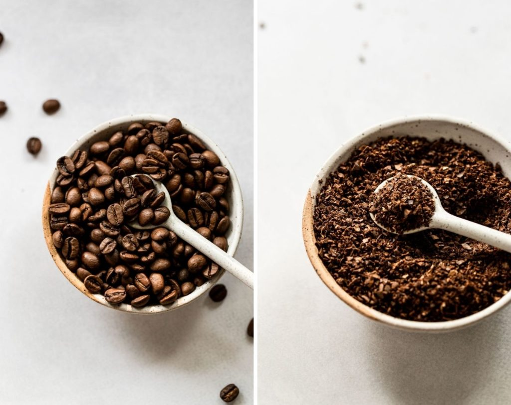 Side by side photos of coffee beans before and after grinding.