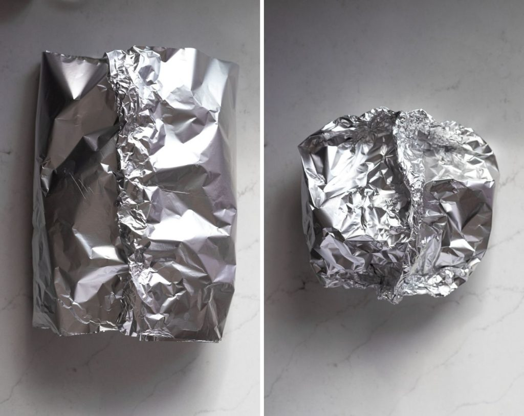 Two images: folding center of foil together and then folding in the edges.