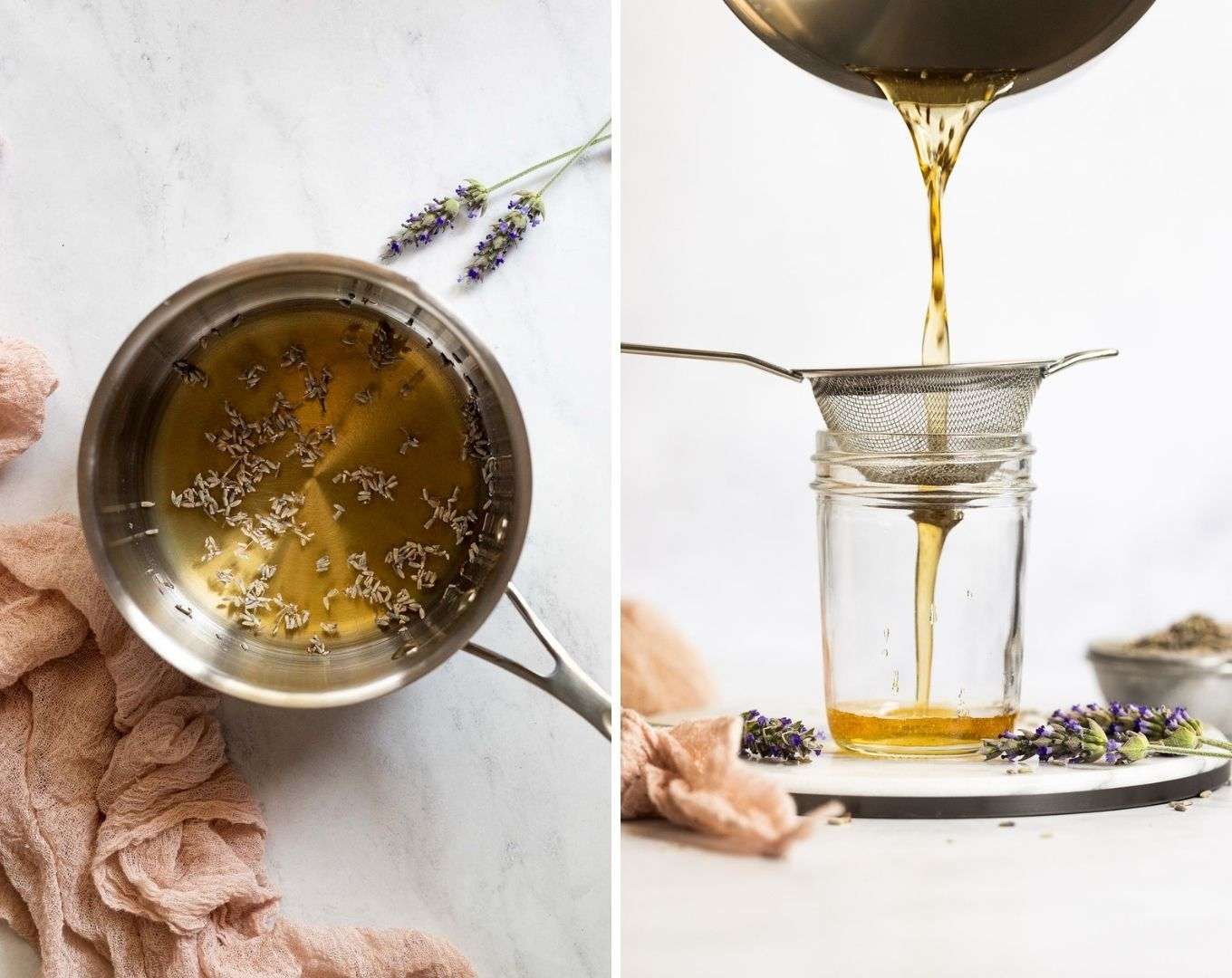 Honey lavender syrup in sauce pan and straining into jar.