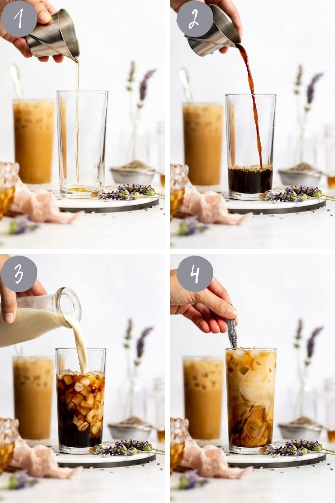 4 images pouring iced latte.