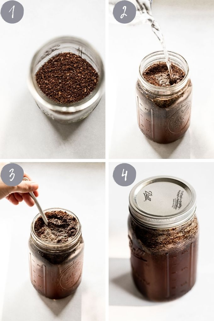 4 images: ground coffee in jar, pouring water over ground coffee, stirring, and jar with lid on.