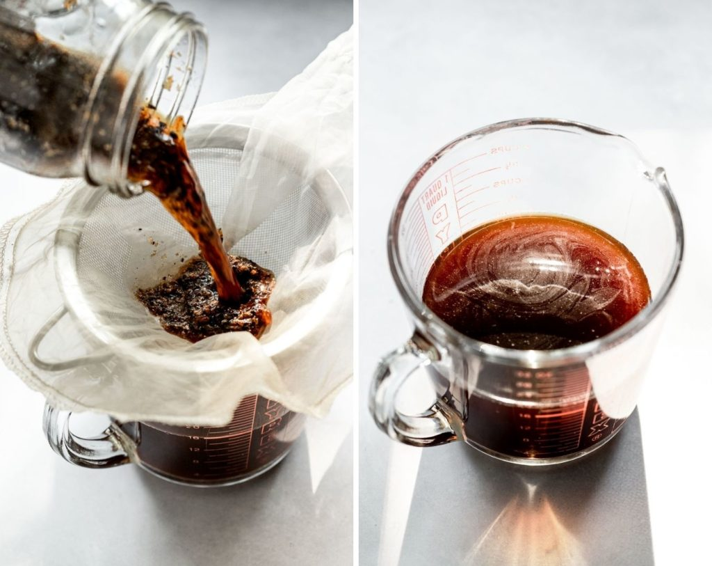 Side by side images: nut bag in strainer pouring cold brew grounds into it, and finished cold brew.