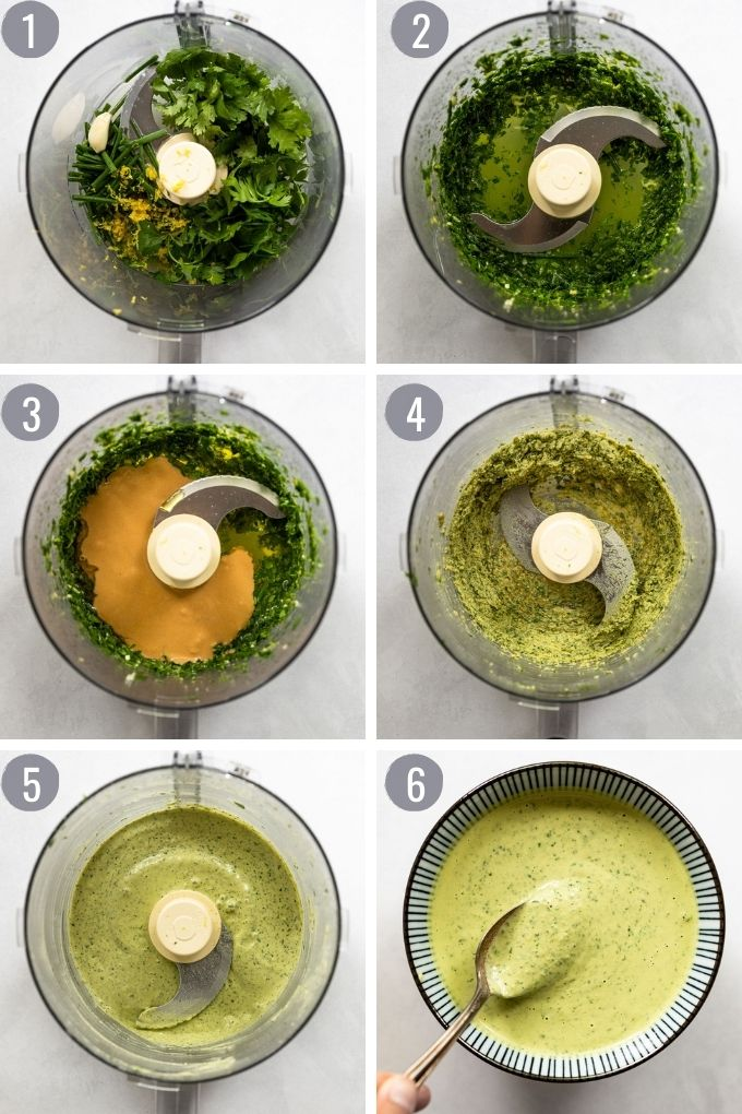 6 images of sauce in food processor.